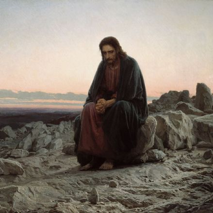 Kramskoi, Ivan Nikolaevich: Christ in the Wilderness/Desert (1872). Fine Art Print/Poster (0011)